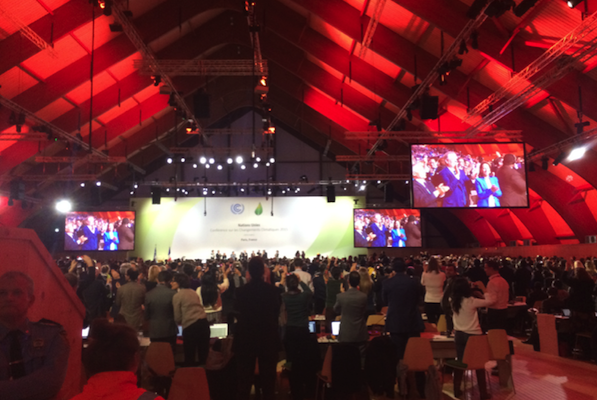 Applause in the plenary hall for the adoption of the Paris Agreement. Photo credit: Patrick Cage.