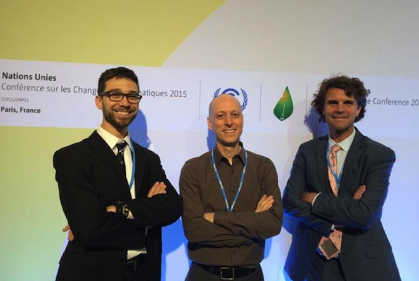 Patrick Cage, Michael Gillenwater, and John O. Niles at COP21. Photo credit: Friendly random attendee.